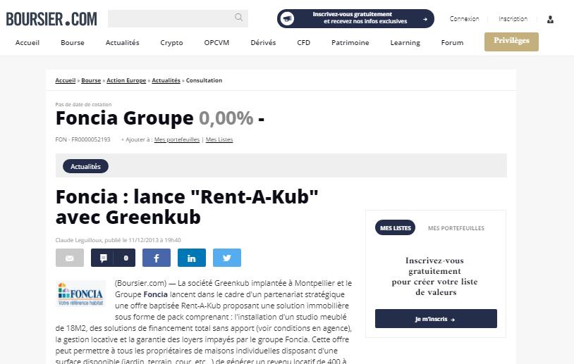 Boursier.com greenkub article