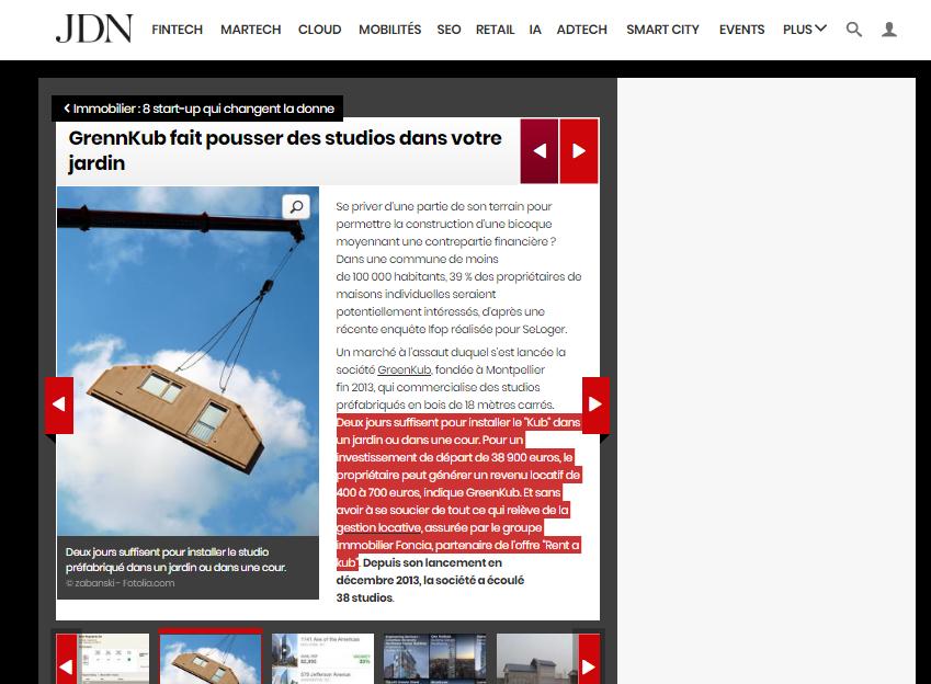 capture d'écran de l'article du JDN sur Greenkub