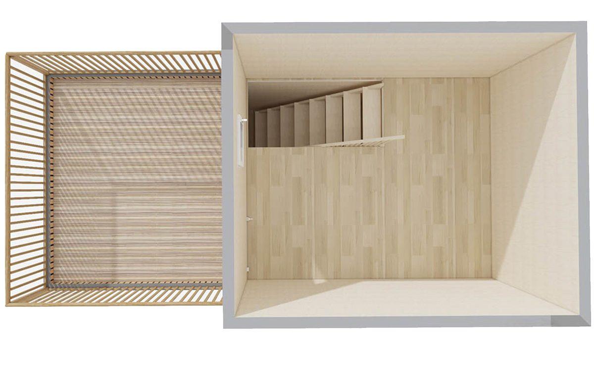 Etage d'un studio de 30m2 avec terrasse tropézienne