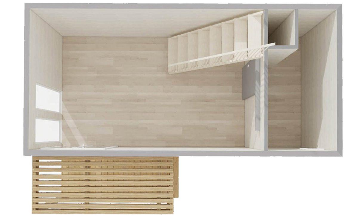 RDC d'un studio de 30m2 avec terrasse tropézienne