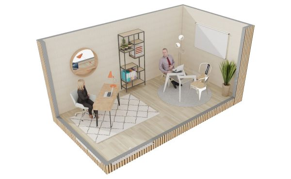 Studio de jardin en bois : Bureau de jardin Greenkub : aménagement intérieur