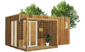 Bureau de jardin en bois pour du télétravail GreenkubModel 3D d'un studio de jardin de 15 à 20 mètres carrés Greenkub