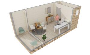 Cabinet de praticien : vue 3D