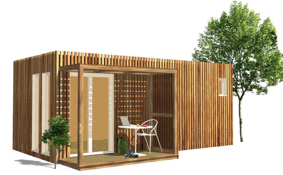 Studio de jardin en bois pour location longue durée ou Logement étudiant Greenkub