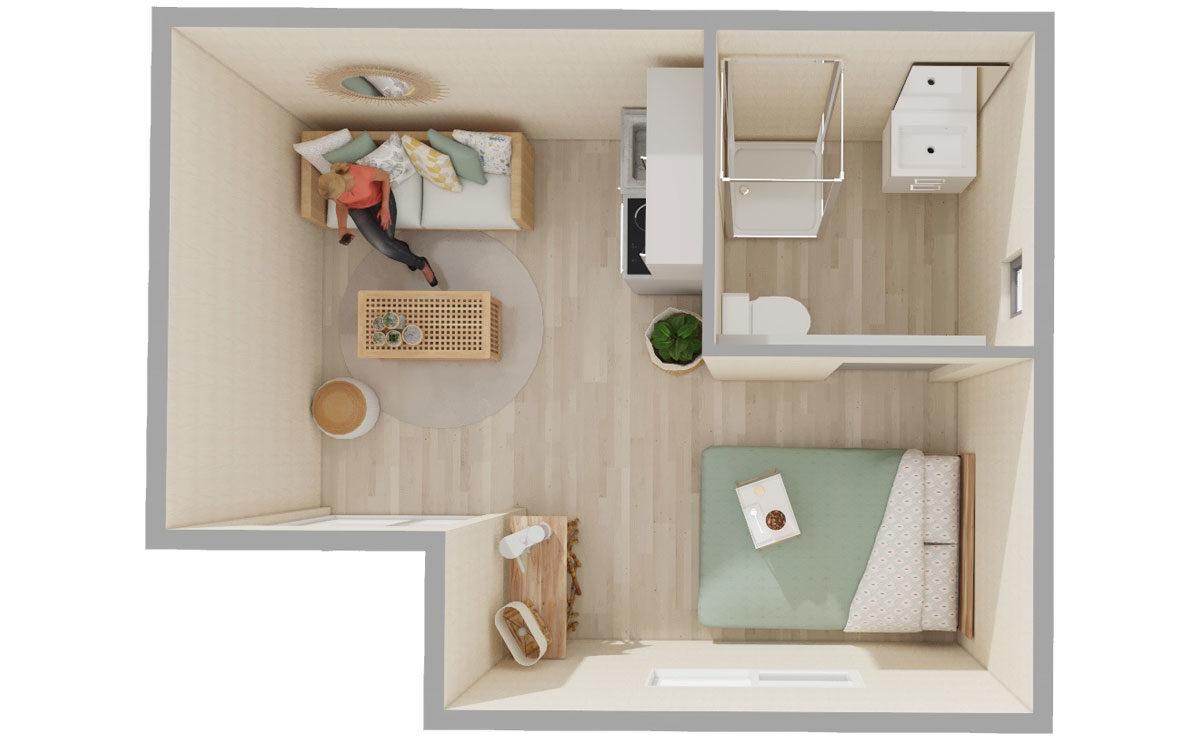 Studio de jardin en bois : Lodge Greenkub : vue de dessus