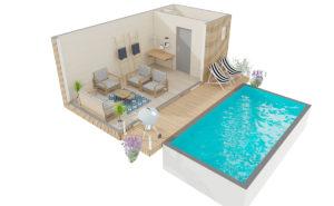 Pool House bois avec pergola et terrasse