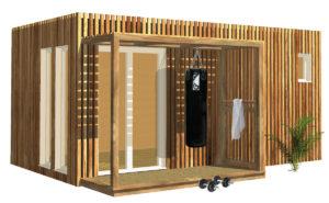 Salle de sport et de fitness dans un studio de jardin en bois Greenkub