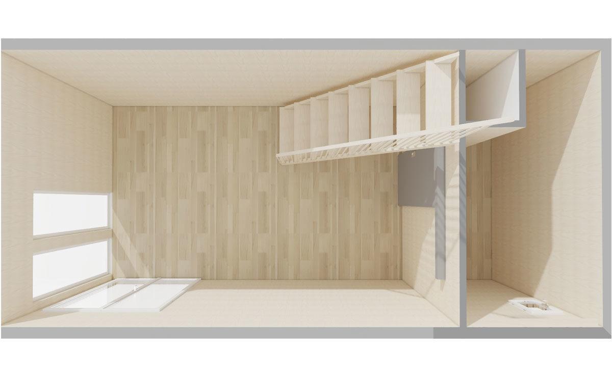 Rez de chaussée d'un studio de jardin en bois à mezzanine Greenkub