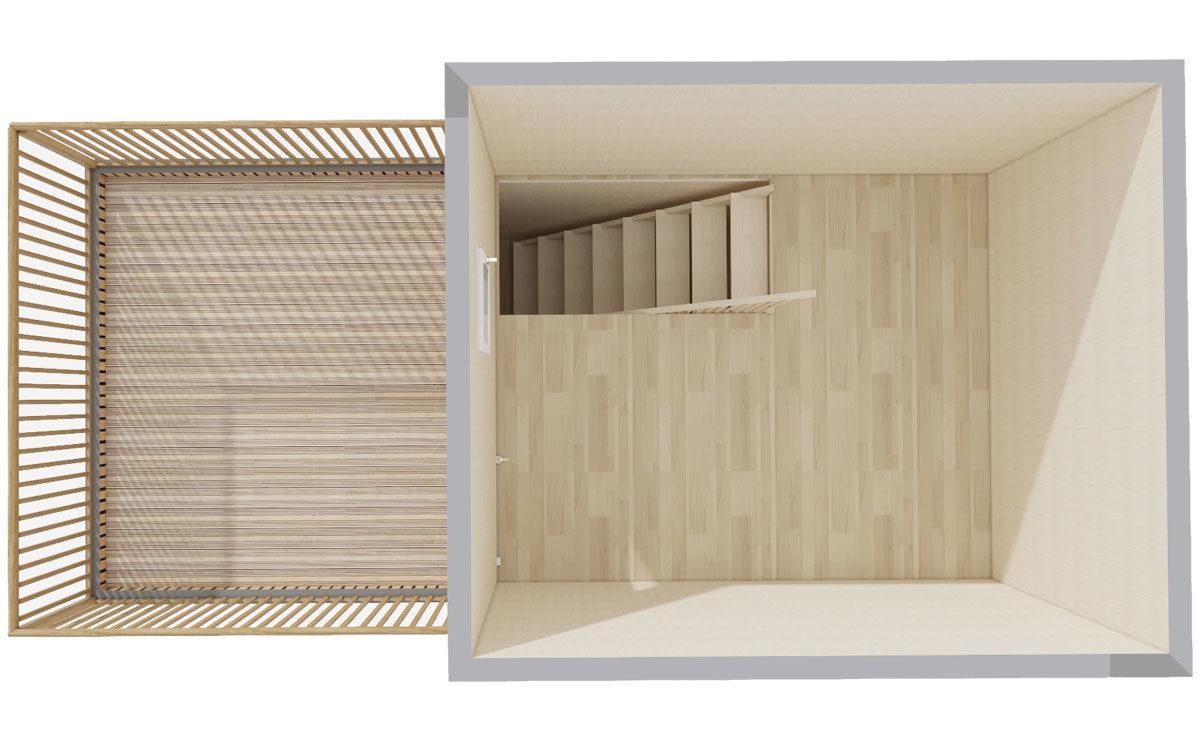 Etage d'un studio en bois pour terrain nu Greenkub