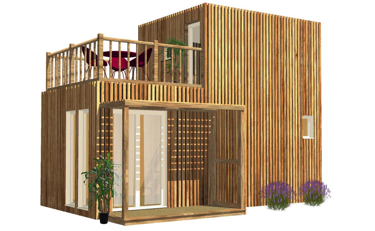 Studio de jardin en bois avec Tropézienne de 30 mètres carrés