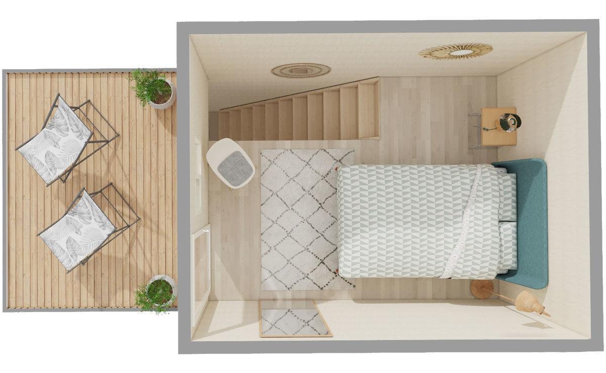 Studio de jardin en bois avec toit terrasse (tropézienne) Greenkub