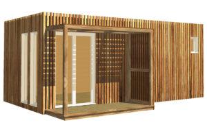 Studio de jardin en bois de 15 à 20 mètres carrés