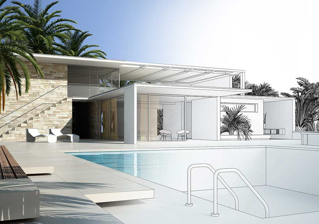 plan pool house piscine facing