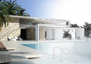 plan pool house piscine facing