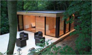 bureau de jardin toit plat en cube