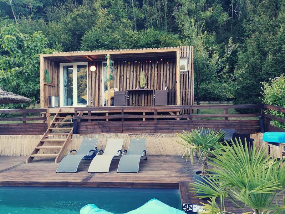 Pool house bois piscine isère Greenkub