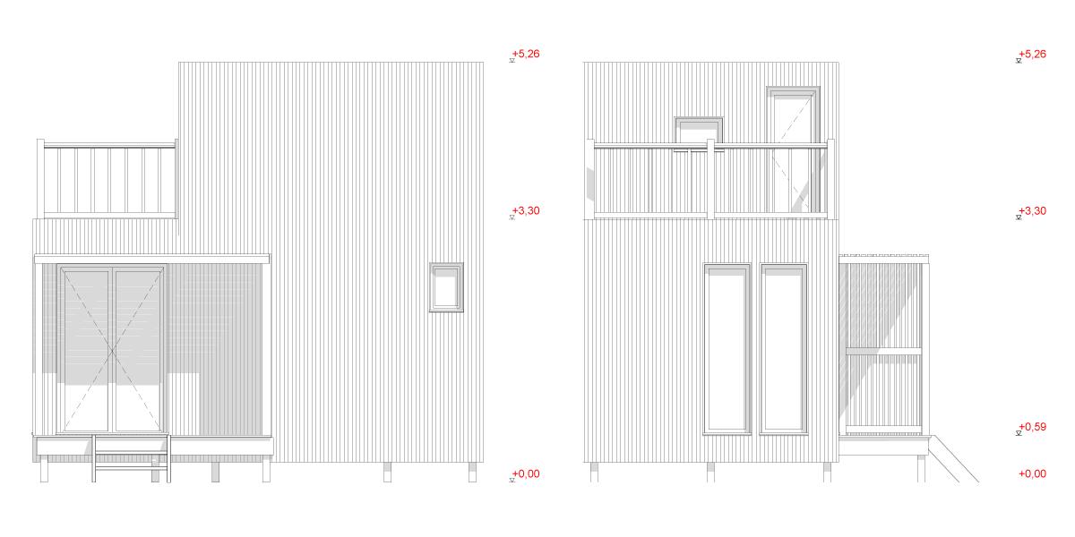 Coupes extérieures du studio de jardin GK25T