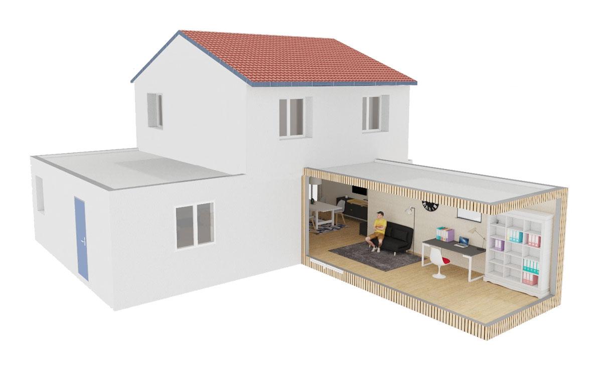 Extension de maison Greenkub de 20 mètres carrés